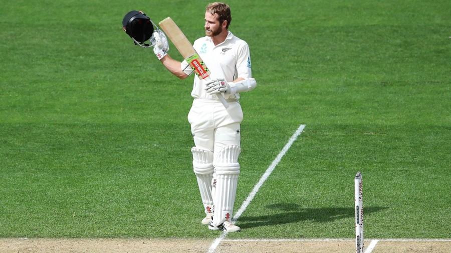 Kane Williamson celebrates a record 18th Test century