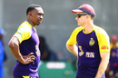 Dwayne Bravo talks to the Trinbago Knight Riders coach, Simon Katich, a couple of days before the game against Barbados Tridents, CPL 2017, Bridgetown, August 31, 2017