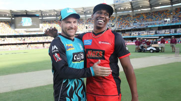 Brendon McCullum and Dwayne Bravo have a laugh