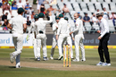 Nathan Lyon celebrates a wicket with his team-mates, South Africa v Australia, 3rd Test, Cape Town, 2nd day, March 23, 2018