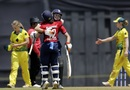 Natalie Sciver and Tammy Beaumont celebrate after powering England to victory, Australia v England, Tri-Nation Women's T20 series, Mumbai, March 23, 2018