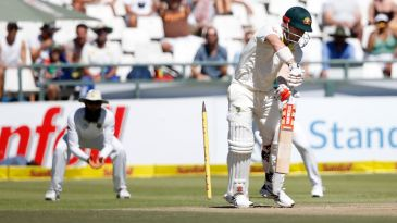 David Warner's stump goes cartwheeling