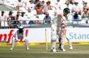 David Warner's stump goes cartwheeling, South Africa v Australia, 3rd Test, Cape Town, 2nd day, March 23, 2018