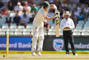 Steven Smith is airborne while defending, South Africa v Australia, 3rd Test, Cape Town, 2nd day, March 23, 2018