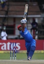 Mohammad Shahzad launches a six, Ireland v Afghanistan, World Cup Qualifiers, Harare, 23 March, 2018