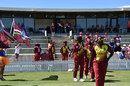 Stafanie Taylor leads her team out, New Zealand v West Indies, 1st women's T20I, Mount Maunganui, March 14, 2018
