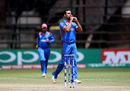 Dawlat Zadran is pumped up after taking a wicket, Ireland v Afghanistan, World Cup Qualifiers, Harare, 23 March, 2018
