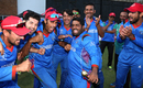 Mohammad Shahzad leads Afghanistan's post-match revelry, Ireland v Afghanistan, World Cup Qualifiers, Harare, 23 March, 2018