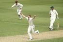 Brendan Doggett celebrates a wicket, Queensland v Tasmania, Sheffield Shield 2017-18, final, Brisbane, 2nd day, March 24, 2018