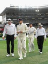 Joe Root walks off the field as rain sets in, New Zealand v England, 1st Test, Auckland, 3rd day, March 24, 2018