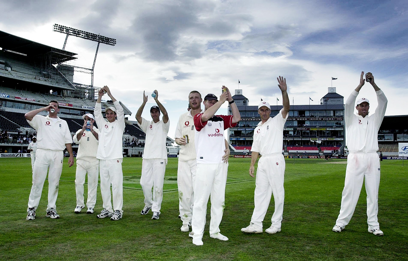 Relieved England players acknowledge the spectators after winning the Test by 98 runs