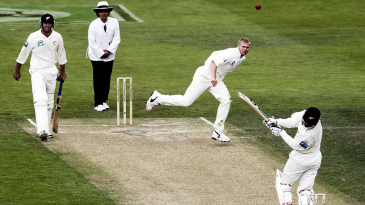 Nathan Astle hooks a bouncer from Matthew Hoggard