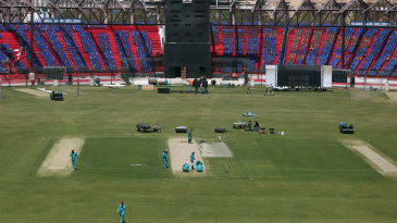 Pitch preparations ahead of the PSL final in Karachi