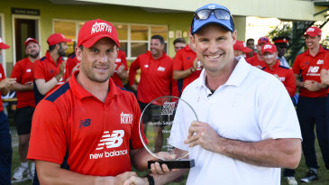 North captain Steve Mullaney receives the trophy from Andrew Strauss