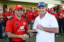 North captain Steve Mullaney receives the trophy from Andrew Strauss, North v South, 3rd match, Barbados, March 23, 2018