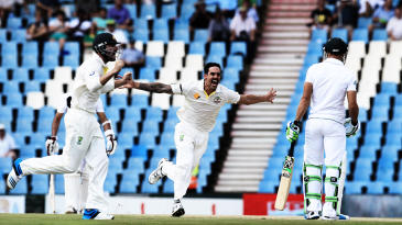 Mitchell Johnson celebrates Faf du Plessis' wicket