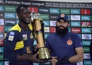The two captains, Darren Sammy and Misbah-ul-Haq pose with the PSL trophy, Karachi, March 24, 2018