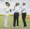 Cameron Bancroft shows a black piece of cloth to the umpires, South Africa v Australia, 3rd Test, Cape Town, 3rd day, March 24, 2018
