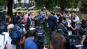 James Sutherland addresses reporters about Australia's ball-tampering