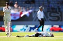 Henry Nicholls left sprawling after a desperate dive, New Zealand v England, 1st Test, Auckland, 4th day, March 25, 2018