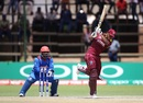 Shimron Hetmyer drills one into the leg side, Afghanistan v West Indies, World Cup Qualifier, final, Harare, March 25, 2018
