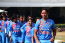 Harmanpreet Kaur leads her team out, India v England, Tri-Nation Women's T20 Series, Mumbai, March 25, 2018