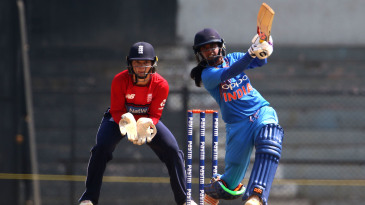 Mithali Raj launches the ball down the ground