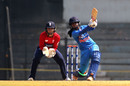 Mithali Raj launches the ball down the ground, India v England, Tri-Nation Women's T20 Series, Mumbai, March 25, 2018