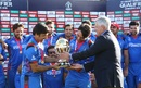 ICC CEO David Richardson presents Afghanistan with the trophy, Afghanistan v West Indies, World Cup Qualifier, final, Harare, March 25, 2018