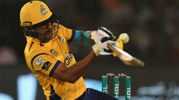 Wahab Riaz looks to scoop over short fine leg