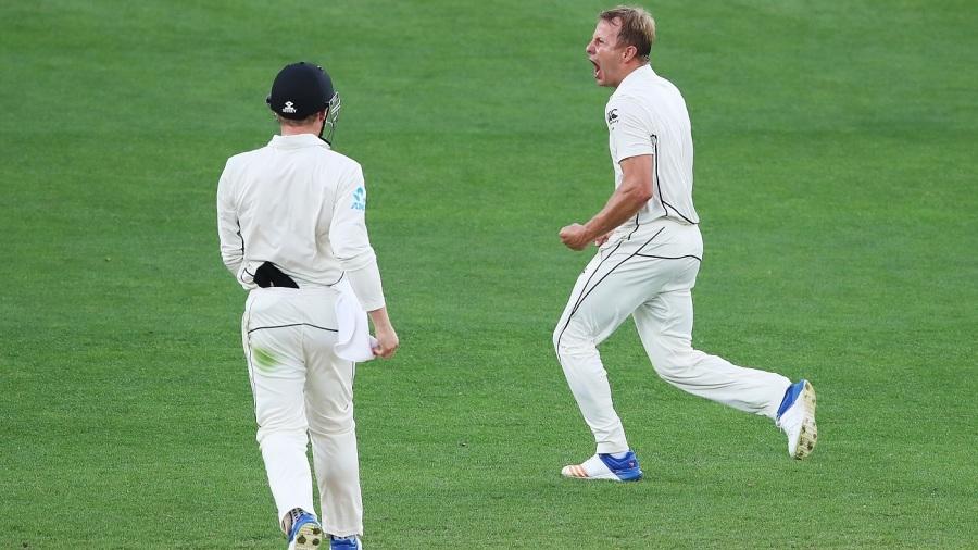 Neil Wagner celebrates Ben Stokes' wicket