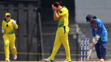 Megan Schutt can't believe her luck after dismissing Mithali Raj