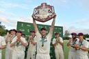 Luke Feldman holds the Sheffield Shield aloft, Queensland v Tasmania, Sheffield Shield 2017-18 final, Brisbane, March 27, 2018