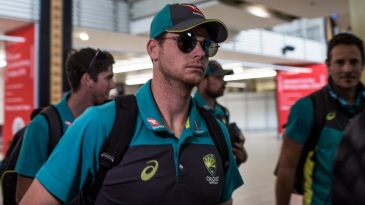Steven Smith, banned for the final Test, arrived in Johannesburg