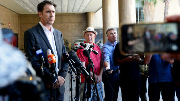 James Sutherland addresses the press conference