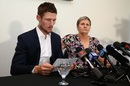 Cameron Bancroft reads out his statement to the media during a press conference at the WACA, Perth, March 29, 2018