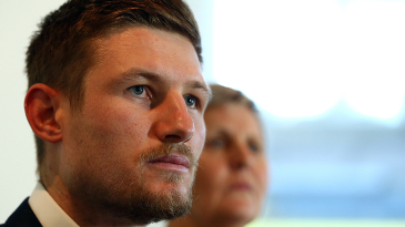 Cameron Bancroft speaks to the media in the aftermath of the ball-tampering scandal