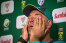 An emotional Darren Lehmann announced his resignation as Australia's head coach, Johannesburg, March 29, 2018