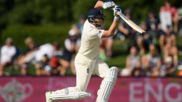 Jonny Bairstow steps out to drive on his way to fifty