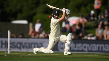 Mark Wood drives on his way to maiden Test half-century