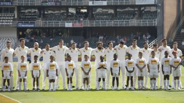 The Australian team during the national anthems