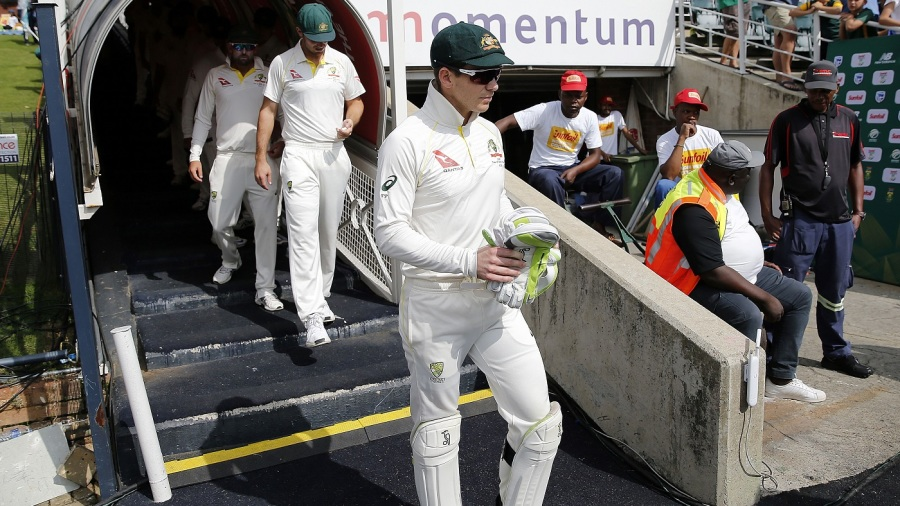 Australia captain Tim Paine leads the team out
