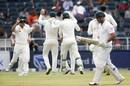 Australia celebrate Dean Elgar's wicket, South Africa v Australia, 4th Test, Johannesburg, 1st day, March 30, 2018