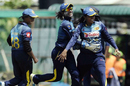 The Sri Lanka players celebrate a wicket, Sri Lanka v Pakistan, 2nd women's T20I, Colombo, March 30, 2018