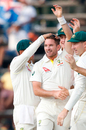 Chadd Sayers is mobbed by his team-mates after picking up his first Test wicket, South Africa v Australia, 4th Test, Johannesburg, 1st day, March 30, 2018