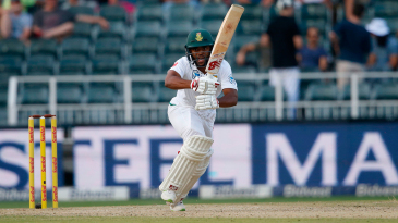 Temba Bavuma calls loudly as he scampers a run