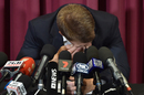 David Warner in tears at his press conference a week after the ball-tampering scandal in Cape Town, Sydney, March 31, 2018