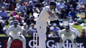 Alastair Cook faces up to the new ball