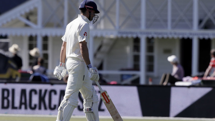 Alastair Cook walks off after another dismissal by Trent Boult