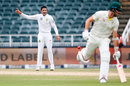 Keshav Maharaj appeals for lbw as Australia try sneaking in a run, South Africa v Australia, 4th Test, 3rd day, Johannesburg, April 1, 2018